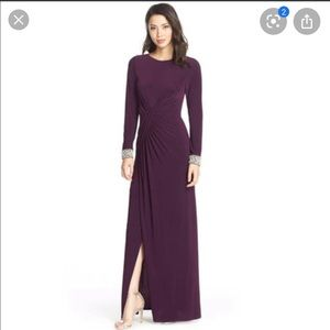 Vince Camuto plum evening gown